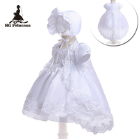 Free Shipping 3M 12M Cotton Lining Baby Baptism Dresses Embroidery White Infant Dress Communion Organza Girls Christening Gowns