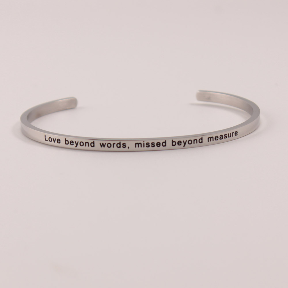 Simple Stainless Steel Bangle Positive Inspirational Bracelet Engraved Quote Mantra Bracelet Cuff Bangle For Women in Bangles from Jewelry Accessories