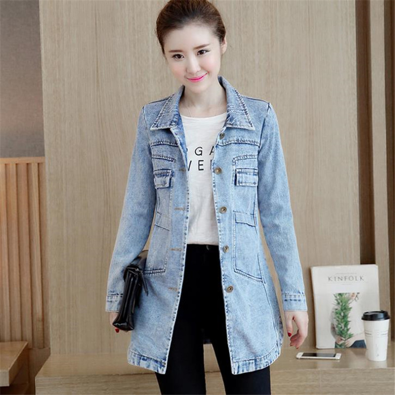 Denim Jacket Korean Female Jacket Classic Blue Denim Coat Relaxed Fit Tops Long Sleeve Jean Outwear long Denim Jacket WomenHC072