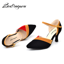 Ladingwu Wholesale Dance Shoes Women Latin Flannel Ballroom Dancing shoes For Women Brown Red Blue Salsa Pointe Shoes Dance