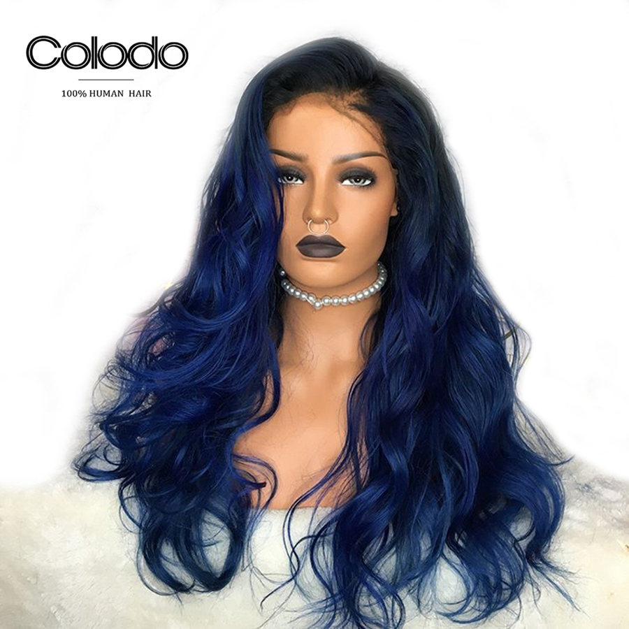 COLODO Brazilian Body Wave Lace Front Wig For Women Preplucked 150 Ombre Colored Human Hair Blue