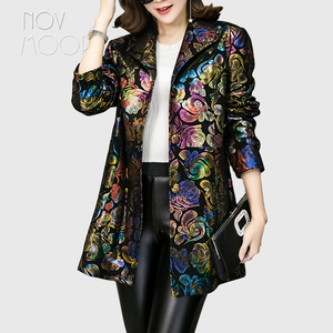 Image 1 - Multi color floral print black genuine leather trench coat real lambskin leather coat outwear plus size casacos LT1892 FREE SHIP