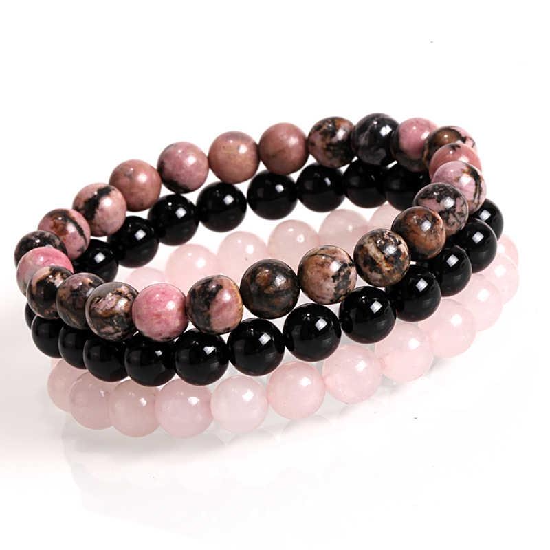 Mcllroy мужской женский натуральный камень браслет 8 мм черный оникс Родонит розовый кварц бисерные наручные штабелируемые Mala мужские s браслеты 2019