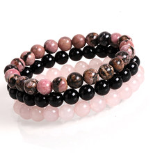 Mcllroy Men Women Natural Stone bracelet 8mm Black Onyx Rhodonite Rose Quartzs Beaded Wrist Stackable Mala Mens Bracelets 2019(China)