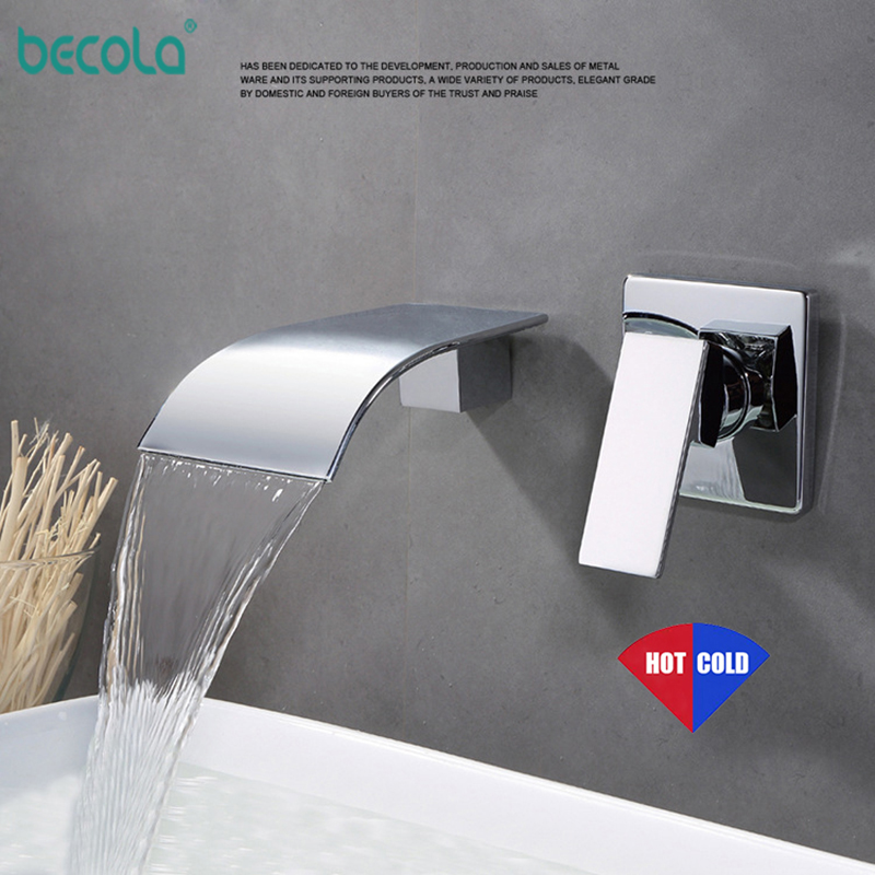 BECOLA Delivery Chrome Black Waterfall Basin Faucet Wall Mounted bathtub Bathroom Faucet Single Handle Mixer Tap