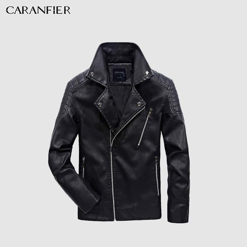CARANFIER 2017 Neue Männer Leder Jacke Winter Mode Hohe Qualität PU Casual Biker Jacke Männlichen Oberbekleidung & Mäntel Plus Größe 5XL