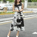 2016 New Fashion Women's Retro  Printing Loose Dress Round Neck Sleeveless  Dress hot sale