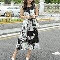 2016 Nova Moda das Mulheres Retro Impressão Vestido Solto Em Torno Do Pescoço Vestido Sem Mangas venda quente