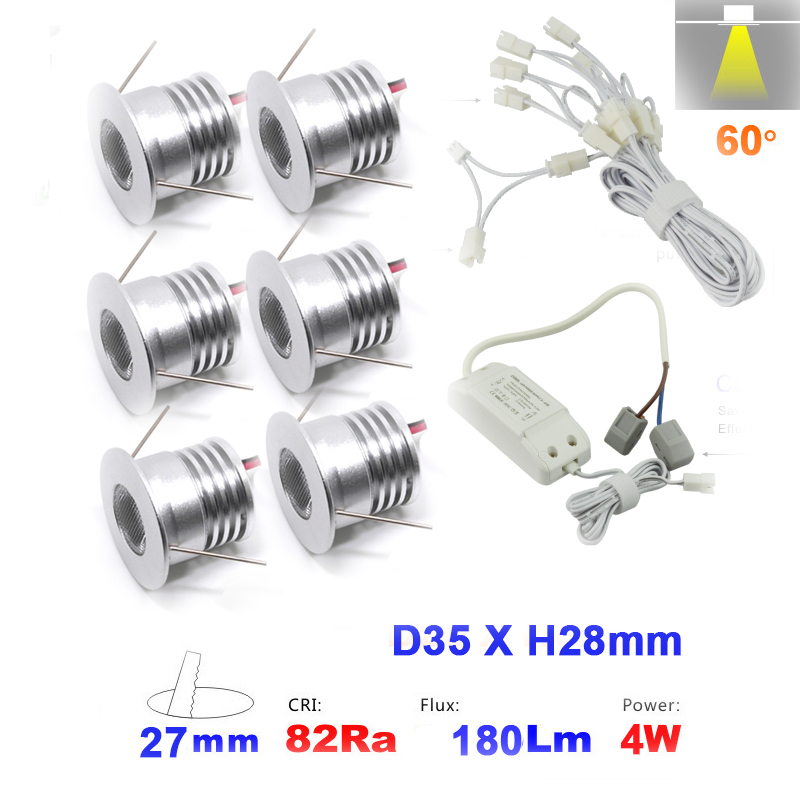 6PCS/set 1W 2W 3W 4W dimmable Mini <font><b>Led</b></font> Down <font><b>light</b></font> Lamp 80Ra 100Lm/W Spot Ceiling <font><b>Light</b></font> for Cabinet <font><b>Closet</b></font> 5 Years Warranty