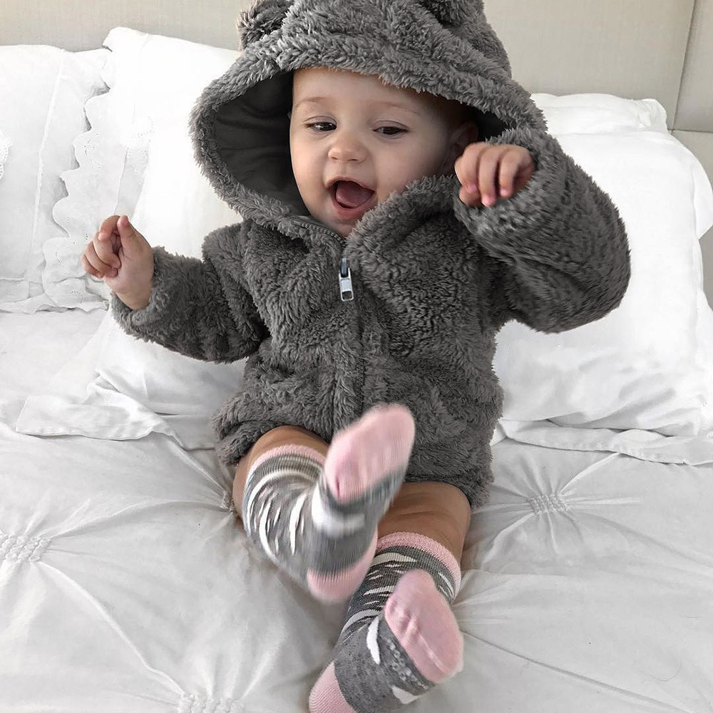 Toddler Baby Boys Girls Fur Hoodie Winter Warm Solid Coat Jacket Cute Long Sleeve Thick Clothes Outerwear Baby Coats Jas 2019(China)