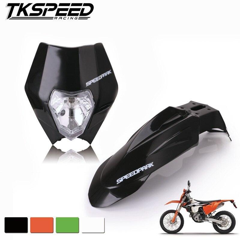 Free Shipping Motorcycle Dirt Bike Motocross Supermoto Universal Headlight Fairing+Front Fenders For Honda Yamaha Suzuki KTM