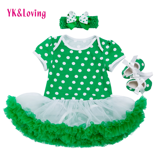4b00fc46765f St Patricks Day Girls Cotton Dress Romper Ruffle Jumpsuit Tutu Dress ...