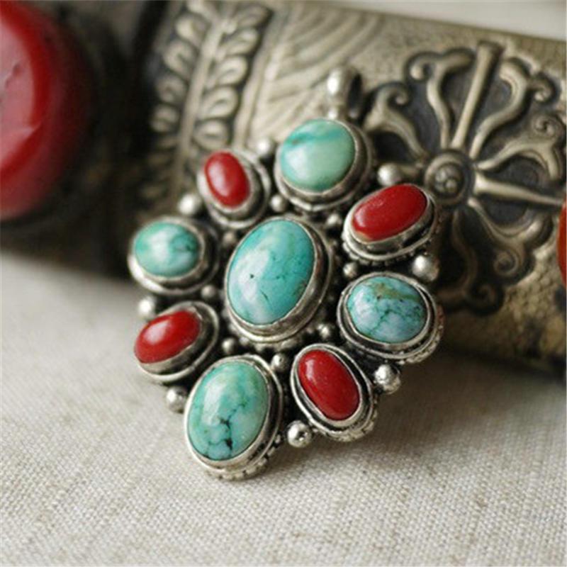 TBP040 Tibetan Silver Inlaid Turkey Stone Vintage Pendant Nepal Handmade Semi-precious Jewelry