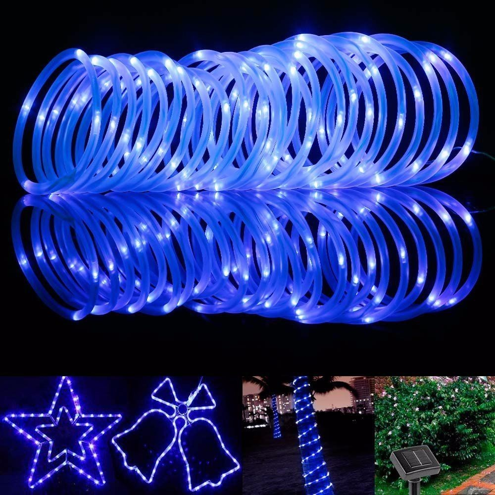 33Ft 10m 100 LED Solar Powered Rope Light String Waterproof Tube String Strip Light for Christmas Party, Wedding Decoration 3w 40 led blue light decoration string light for christmas wedding party 3 x aa