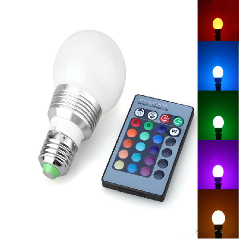 RGB LED Globe Bulb 3W AC 85-265V GU10 E27 B22 E14 16 Colorful Changing LED Light Bulb Lamp IR Remote Control with Wireless jr led e27 10w 500lm led rgb light bulb w remote control white silver ac 85 265v