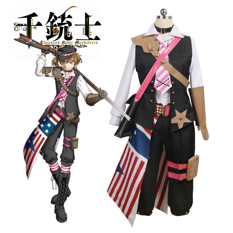 Anime Cosplay Costume The Thousand Noble Musketeers American Group Kentucky Dress Z