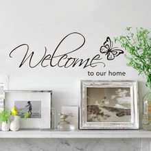 New 26*71cm Black Vinyl English Words Welcome to My Home Butterfly Wall Sticker Decor for Living Room Decal Stick on