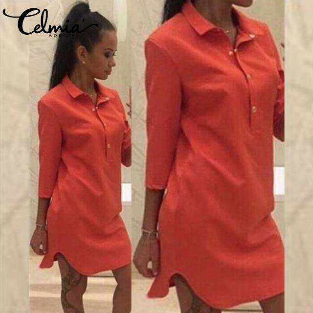 7 цветов celmia Для женщин платье-рубашка 2018 сезон: весна–лето Сексуальное Платье-туника с длинным рукавом Мини Короткие Платья для женщин Vestidos Mujer De Festa 3XL