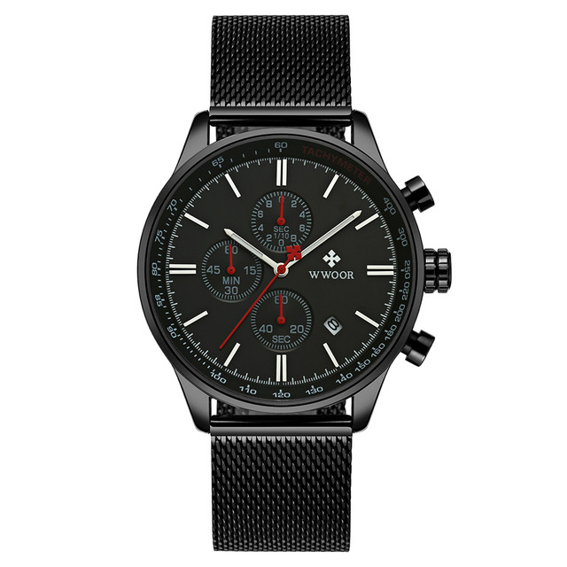 Men Sport Watches for Man Whatches Chrono Military Watch Luxury Auto Date Wristwatch waterproof  Black Mesh Relogio Masculino | Fotoflaco.net