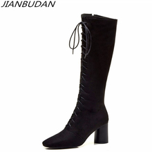 JIANBUDAN/ sexy autumn Knight boots womens Fashion high heel High quality suede Lace-up tube Size plus 34-46