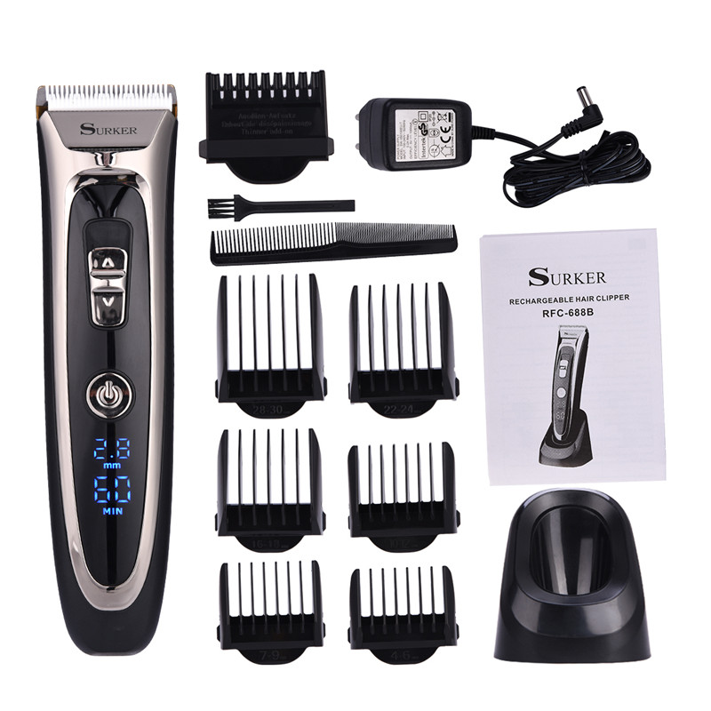 Professional Digital Hair Trimmer Rechargeable Electric Hair Clipper Men's Cordless Haircut Adjustable Ceramic Blade RFC-688B surker model rfc 688b electric foil hair trimmer for men with clean