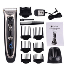 Профессиональная цифровая Волосы Триммер Перезаряжаемые Электрический Машинка для стрижки волос Для Мужчин's Беспроводная стрижка Регулируемый Керамика лезвие RFC-688B 49