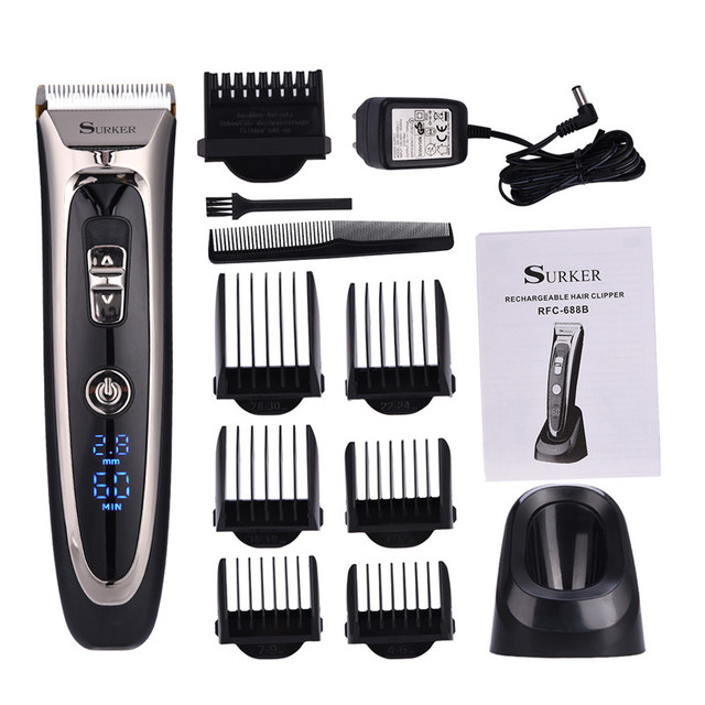 Professional Digital Hair Trimmer Rechargeable Electric Clipper Men S Cordless Haircut Adjule Ceramic Blade Rfc