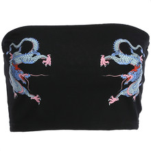 2018 Cropped Strapless Wrap Top Top Sexy Slim Waist Tube Tops Women Black Chinese Style Dragon Print Fashion Summer Top