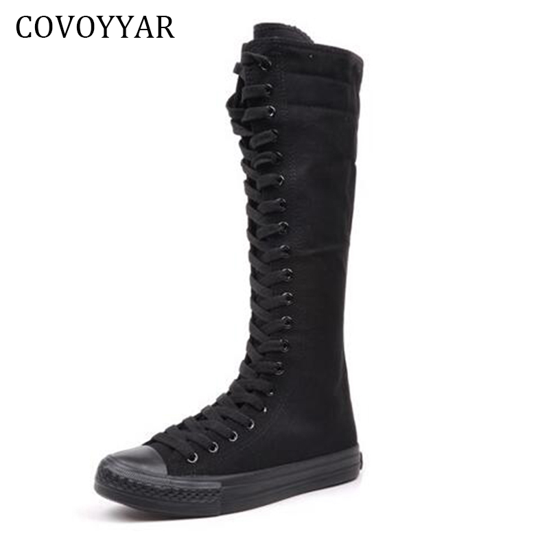 COVOYYAR 2019 Canvas Knee High Boots Fall Winter Fashion Platform Lace Up Women Boots Slim Woman Shoes For Dance Size 40 WBS650