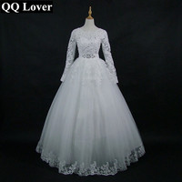 QQ Lover 2017 New Arrival White/Ivory Lace Long Sleeve Wedding Dress Bridal Gown Custom Size Vestido De Noiva With Real Pictures