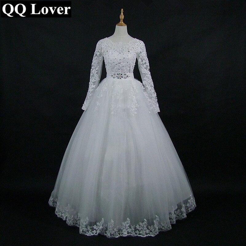 QQ Lover 2018 Mới Đến Trắng/Ngà Ren Dài Tay Áo Cưới Dress Bridal Gown Tuỳ Chỉnh Kích Thước Vestido De Noiva Với Real hình ảnh