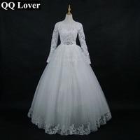 QQ Minnaar 2018 Nieuwe Aankomst Wit/Ivoor Kant Lange Mouw Bruiloft jurk Bruidsjurk Maat Maat Vestido De Noiva Met Real Pictures