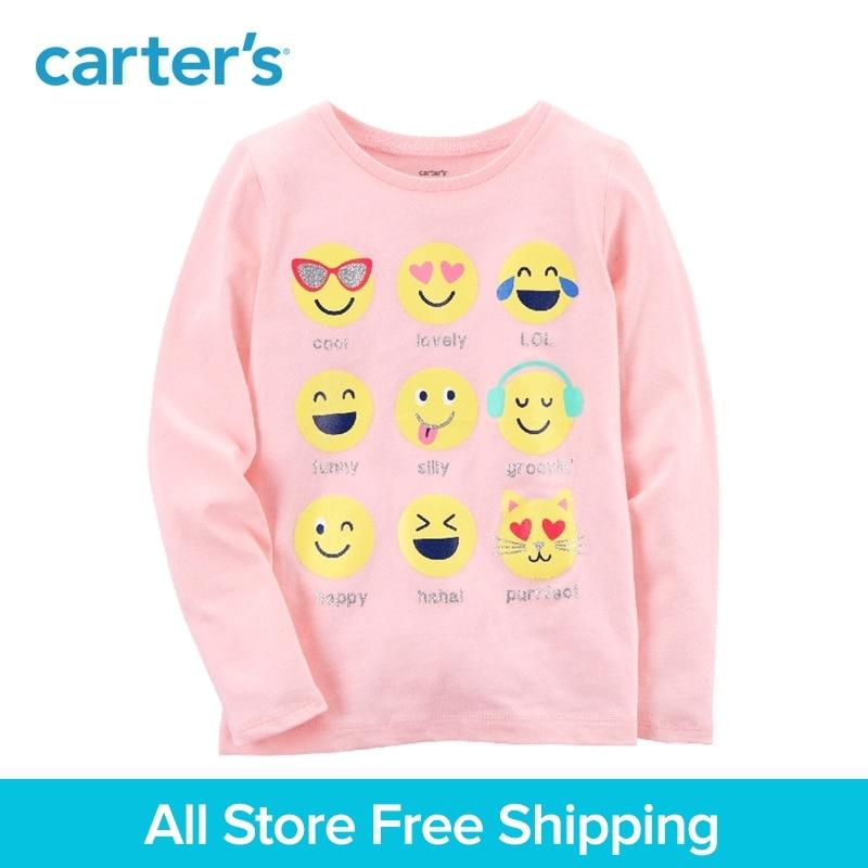 Carters 1-piece baby children kids clothing Girl Summer Emoji Jersey Tee 273H694
