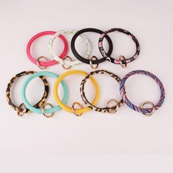 Rainbery New Fashion Monogram PU Leather O Custom Circle Wristlet Key chain 1