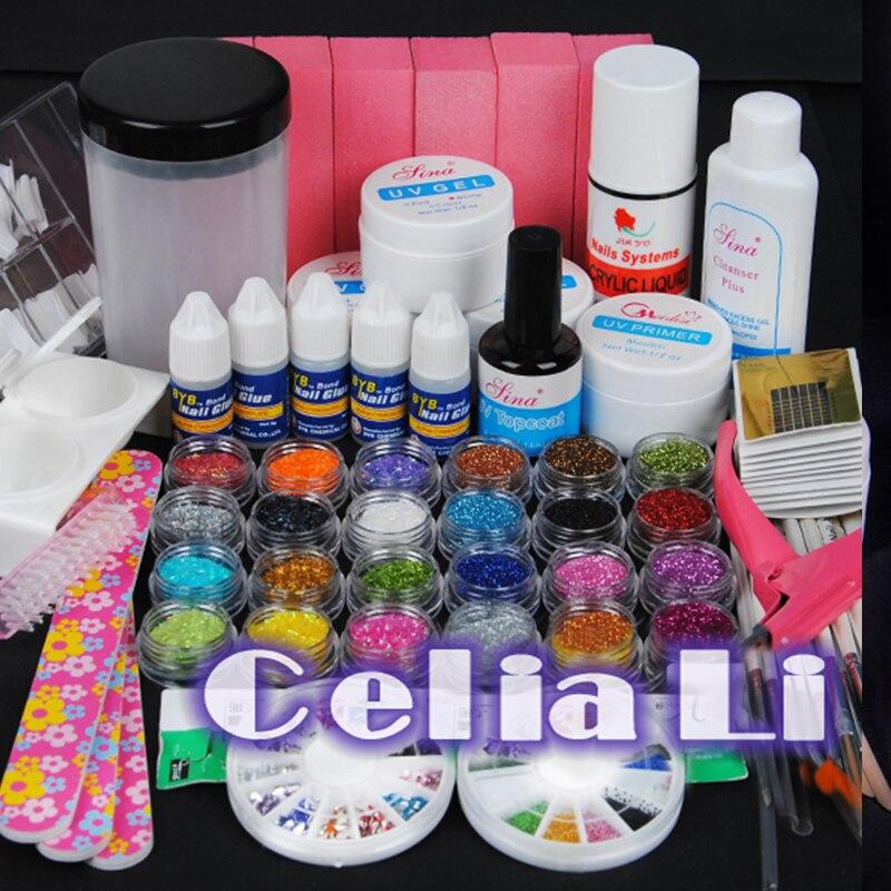 7 days delivery usa dispatch uv gel nail kit nail sets glitter primer base gel nail brush