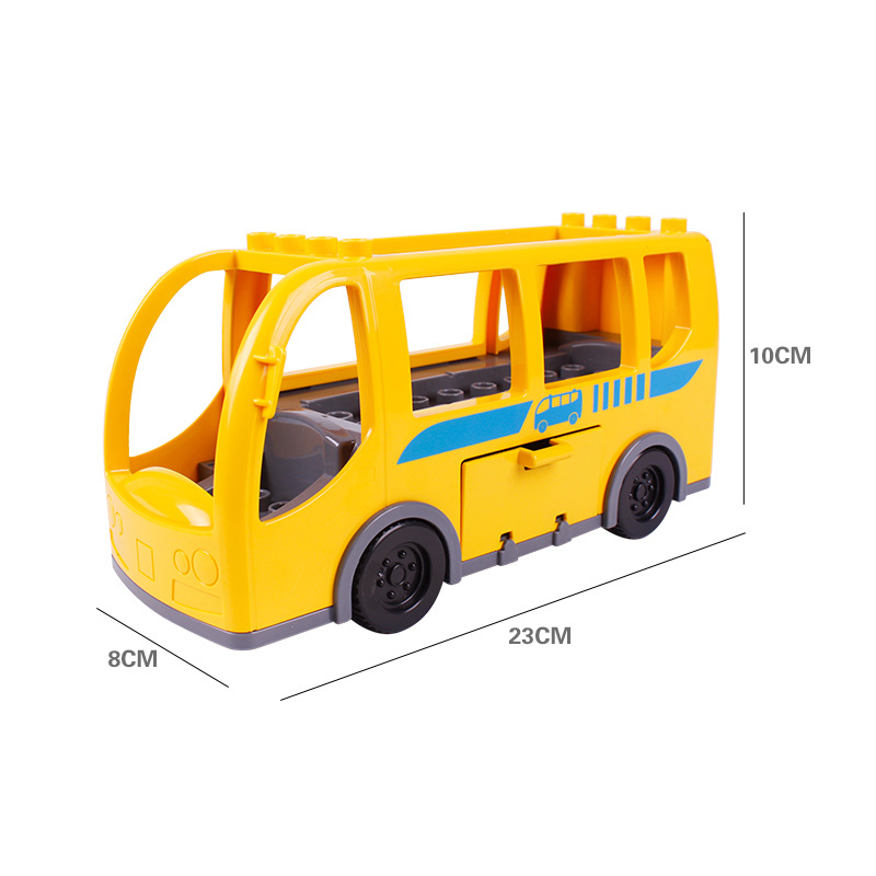 Big SIze Building Blocks Accessory City Bus Truck Aircraft Transport Fire Truck Brick Model Compatible Duploe Toys for children (13)