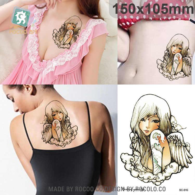 SC-916/Büyük Büyük Karikatür Seksi Kız Dövme Tasarımları Serin Göğüs Vücut Sanatı Geçici dövme çıkartmalar Sahte Büyük Dövmeler