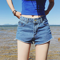 2017 Mujeres Atractivas Del Verano Que Prensa Pantalones Cortos de Mezclilla Señoras Ocasionales Mediados de Cintura Los Pantalones Vaqueros Cortos Pantalones Cortos de Verano Pantalones Vaqueros Feminino Barato Bandas
