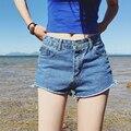 2017 Mulheres Sexy do Verão Friso Denim Shorts Ladies Casual Mid Cintura Shorts Jeans Verão Shorts Jeans Feminino Bandas Baratos