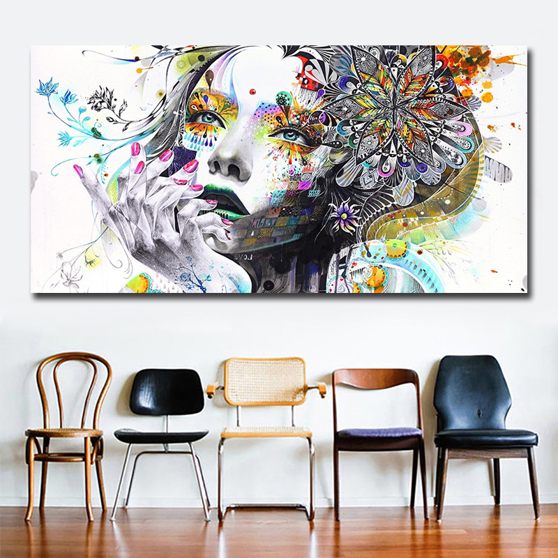 HTB1uh9WXJjvK1RjSspiq6AEqXXaf Beautiful Flower Girl Painting Canvas Wall Art Posters Print Pictures For Bedroom Home Decoration No Frame Discount Dropshiping