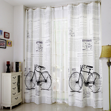 Linen blackout window curtains for living room window screening 130*260 European style luxury bicycle 3d curtains for bedroom
