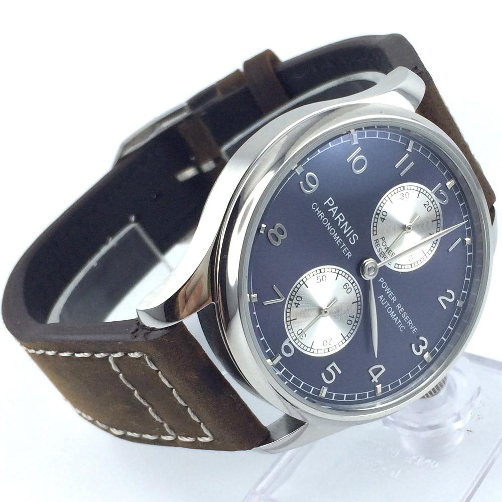 Здесь можно купить  l43mm parnis  blue dial power reserve automatic mens watch   Часы