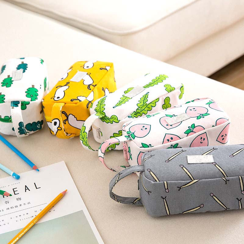 Cute Portable Peach <font><b>pencil</b></font> <font><b>case</b></font> <font><b>Big</b></font> Capacity Animal <font><b>pencil</b></font> box Stationery pouch pen bag gift school supplies canetas Zakka image