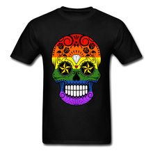 Birthday Gift T Shirt For Men Mexico Skull Print T-shirts 100% Cotton Gay Pride Clothing Hip Hop Tee Short Sleeve Tops Fun