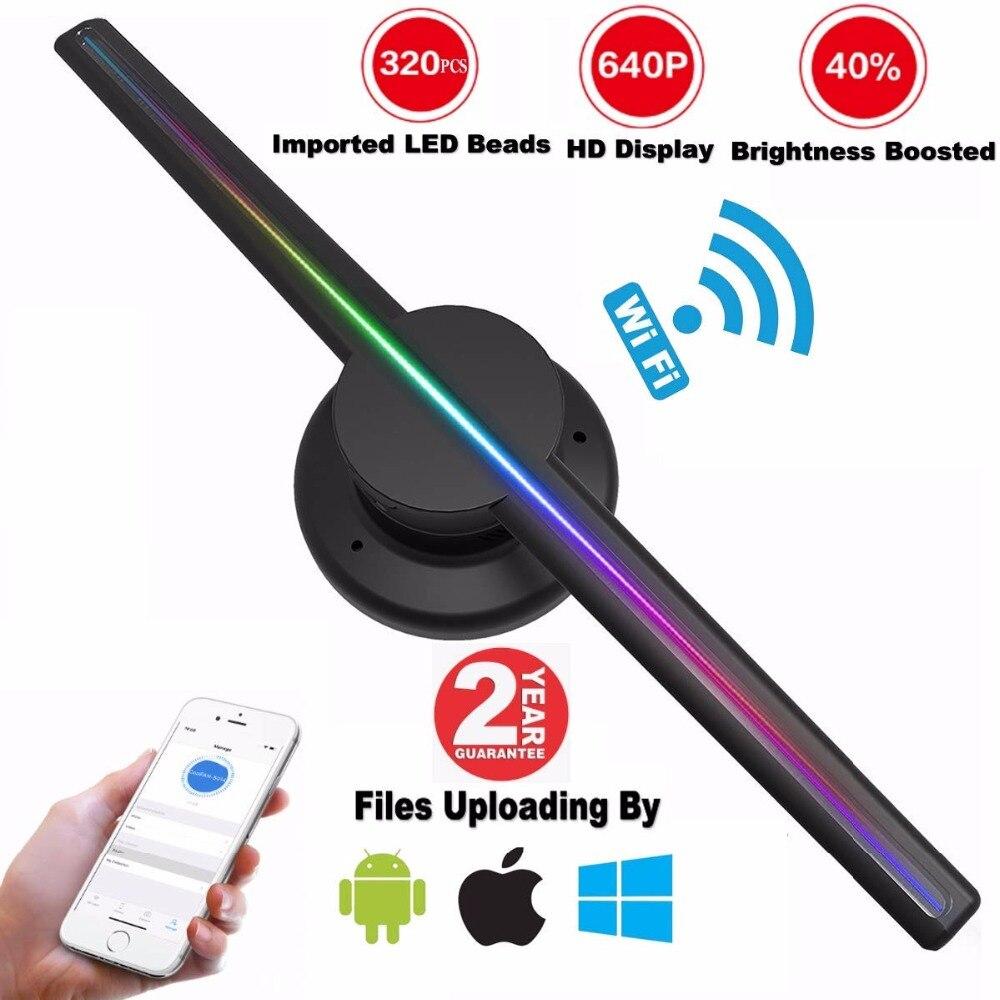 AUSIDA 42 CM Controle Wi-fi 3D Holograma Ventilador, maior Resolução 640 P HD 3D fã levou publicidade display holográfico projetor do LOGOTIPO
