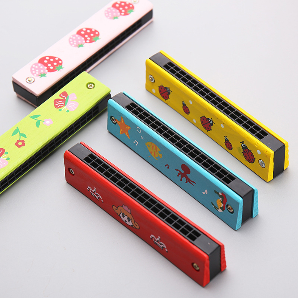 Classic Toy Professional 24 Hole Harmonica Key Of Wooden Metal Organ For Children Kids Gift