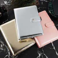 Rose Gold Silver New Notebook A5 Leather Loose Leaf Notepad Time Planner Series Diary Memo Travel