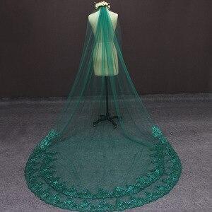 Image 2 - תמונות אמיתיות ירוק חתונה רעלה נדבך אחד בלינג פאייטים תחרה כלה רעלה עם מסרק יפה אביזרי חתונה