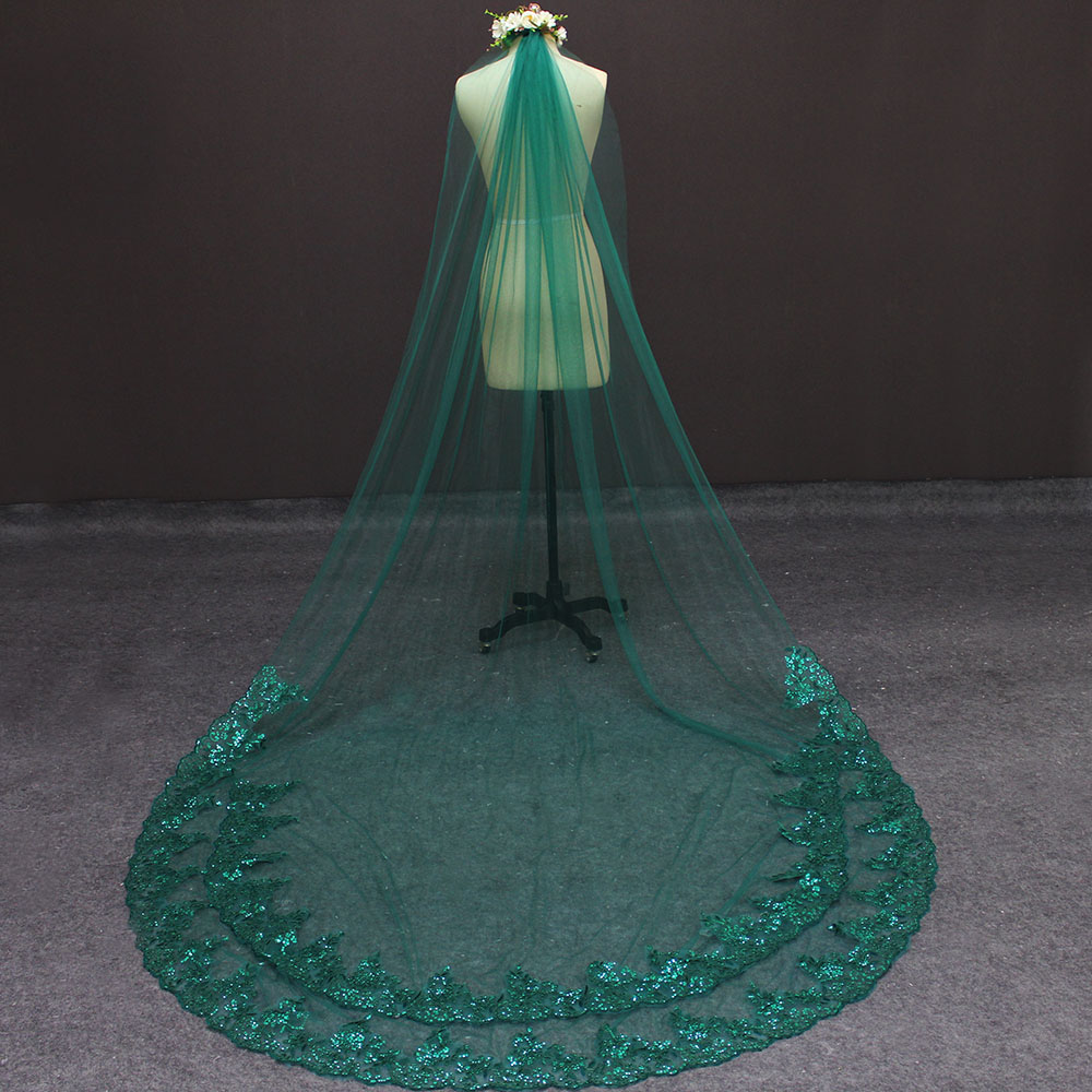 Image 2 - Real Photos Green Wedding Veil Single Tier Bling Sequins Lace Bridal Veil with Comb Beautiful Wedding Accessories-in Bridal Veils from Weddings & Events