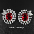 Cute Kitty Shape Ladies Jewelry High Quality White Zircon Paved Women Earrings With Red Green Blue Crystal Stone CZ312